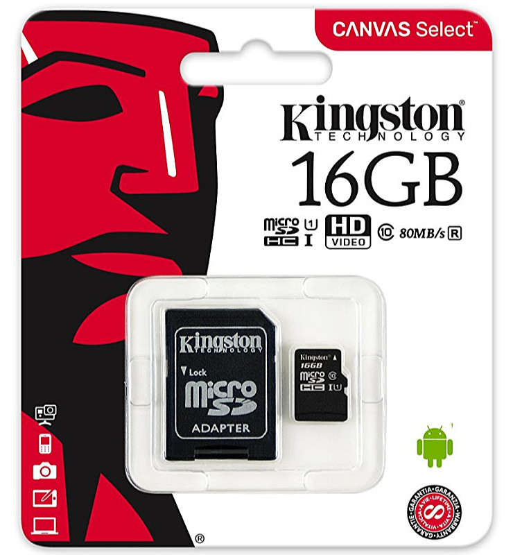 Kingston - Fotó memóriakártya - Kingston Canvas Select 16Gb Class10 microSDHC memóriakártya + adapter