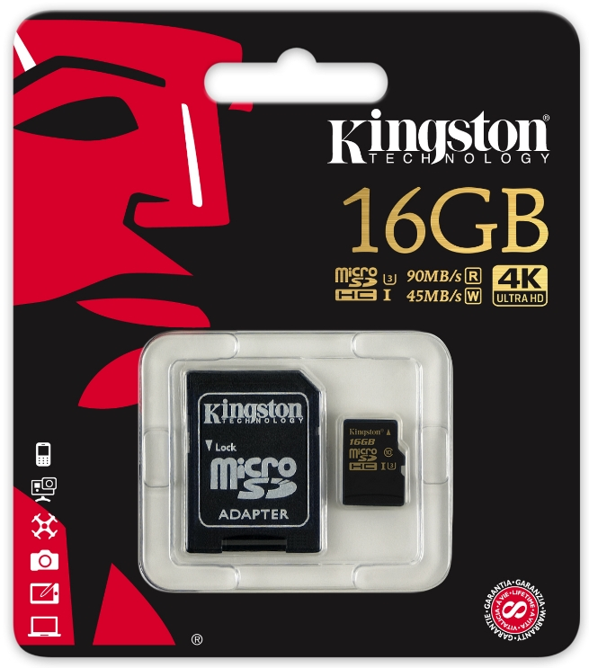 Kingston - Fotó memóriakártya - Kingston Gold 16GB UHS-I Speed Class 3 (U3) microSDHC memóriakártya + SD adapter