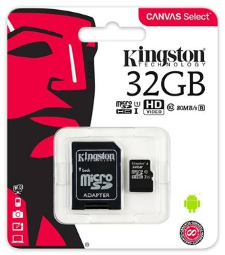 Kingston - Fotó memóriakártya - Kingston Canvas Select 32GB CL10 UHS-I microSDHC memóriakártya+ adapter