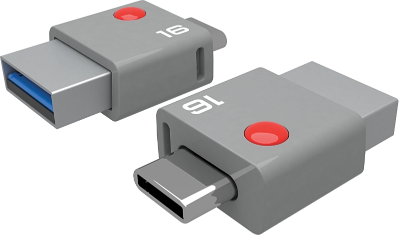 EMTEC - Pendrive - Emtec DUO 16Gb USB3.0+USB-C 2 in 1 pendrive, szürke